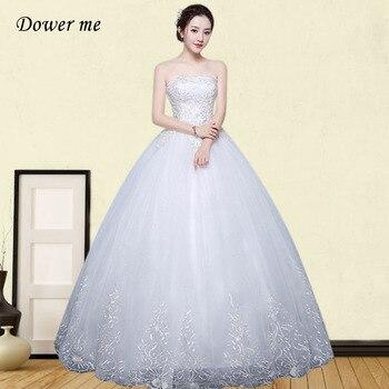 Elegant Lace Wedding Dress GR674 Sleeveless Long Wedding Dresses Lace Up Bridal Gowns Plus Size Strapless Vestidos De Novia