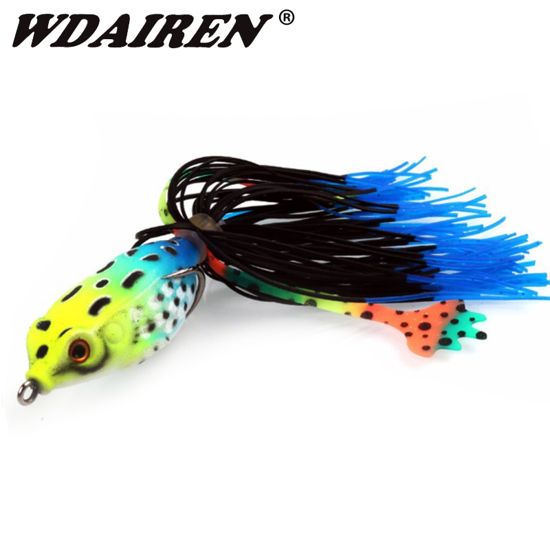 1Pcs Soft Frog Fishing Lures Double Hooks Top Water Ray Frog Artificial Silicone Bait Minnow Crank Soft Baits Fishing Tackle