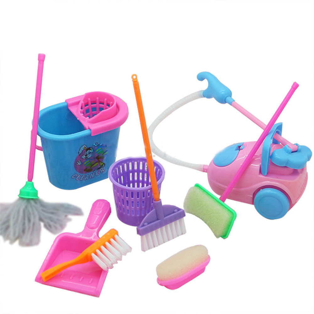 Doll Accessories Mini Broom Mop Trash Can Household Cleaning Tools For Barbie Doll house Kids Educational Toy 9pcs /set(China)