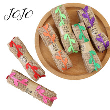 JOJO BOWS 30mm 2m Hemp Burlap Ribbon For Craft Colorful Leaf Decorative Tape Wrapping Material Home Decoration DIY Supplies