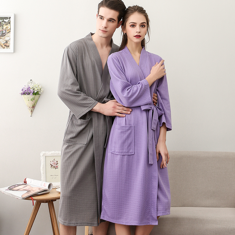 Lovers Summer Waffle Bathrobes Men Women Suck Water Kimono Nightgowns Plus Size Spa Bath Robe 3XL