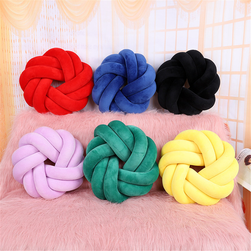 Comfotable Baby 0 24 months Unisex Baby Colorful Soft Knot Pillow Braided Crib Bumper Decorative Bedding Cushion|Decorative Pillows| |  - title=