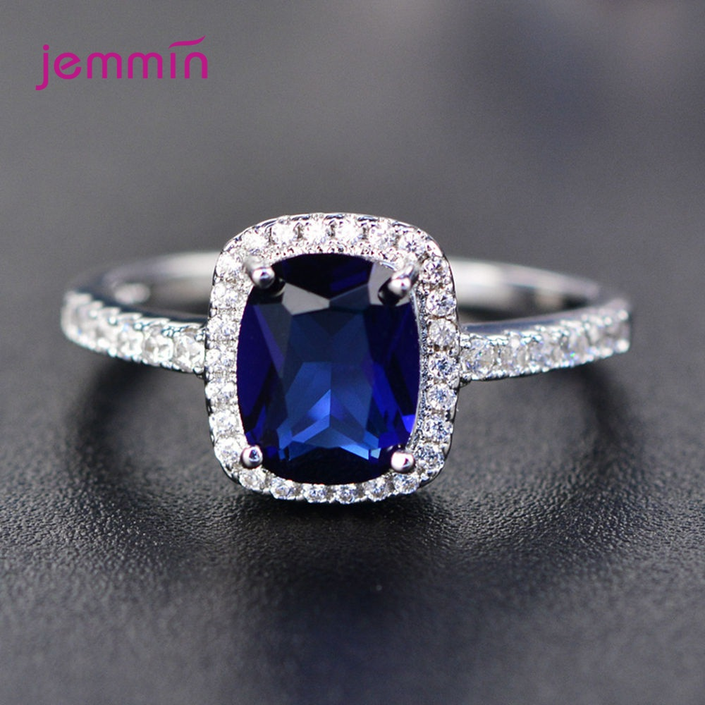 Luxury Simple 925 Sterling Silver Cubic Zirconia Cz Rhinestone Rings For Women Christmas Wedding Jewelry Piedras Colores Anel