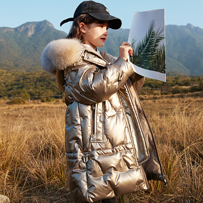 Russian Snowsuit Girls Winter Warm White Duck Down Jackets For Boys Waterproof Natural Fur Hooded Coats For Kids -30 Parka