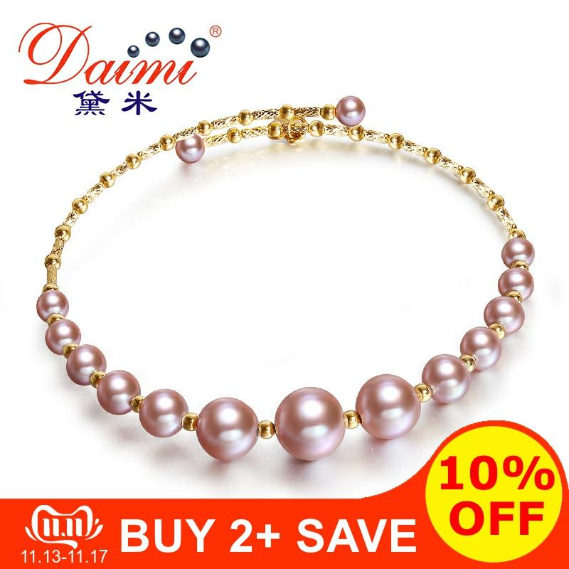 DAIMI Purple Series Bangles 3.5-7.5mm Elastic Pearl Bangles 18K Gold Genuine Bangles Jewelry G