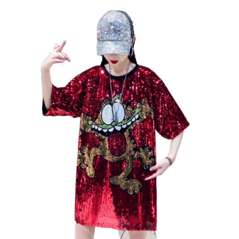 2019 Cartoon T Shirt Long Summer Top Sequins Befree Harajuku Modis Bts Riverdale Stitch Gothic Kawaii Baby Groot Women Tshirt
