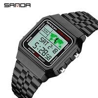 SANDA Digitale Watchwrist Rose Gold Männer Uhren Top-marke Luxus LED 50M Wasserdicht Schwimmen Männlich Sport Uhr Relogio Masculino