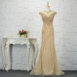 Sexy Gold Celebrity Formal Dresses Sheer V Neck Luxury Beaded Crystals Long Mermaid Red Carpet Prom Evening Gowns ZD1056