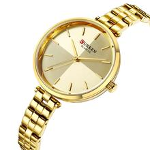 CURREN Woman Watch Full Gold Stainless Steel Newest Business Design Quartz Wrist Watch Stylish Zegarek Damski Waterproof Hardlex все цены