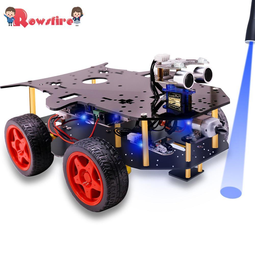 Creative Robot Car 4WD Programming Stem Education Robot Kit Toys With Tutorial & Open Source Code For Arduino Without Battery