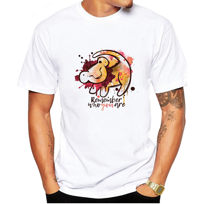 LUSLOS Cool Tops Shirt Hipster Hakuna Matata Men T Shirt Casual Man Oversized White T Shirts Cute Lion King Shirts Men Clothes