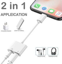 2 In 1 Earphone Audio Connector Music Splitter Cable Accessories for All IOS System Headphone Adapter 3.5mm Jack Adapter Charger