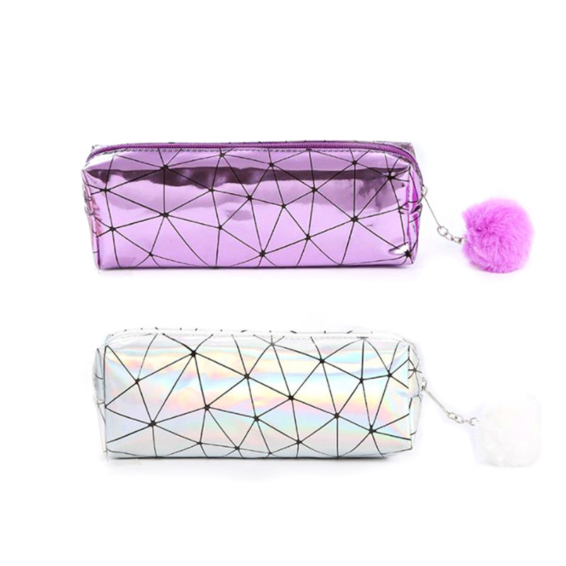 Lridescent Laser Holographic Pencil Case School Pencil Case For Girls  Cute Hairball Pencil Box Bag School Supplies Stationery