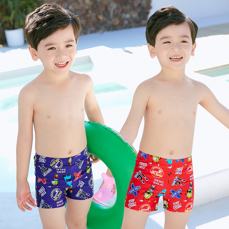CHILDREN'S Swimming Trunks 19 Europe And America New Products Hot Sales Boxer High-waisted Cartoon Hot Springs Big Boy BOY'S Mal