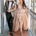 Сексуальное длинное вечернее платья кружевной комбинезон 2021V образным вырезом женское платье для выпускного вечера Иллюзия Дубай Саудовск...