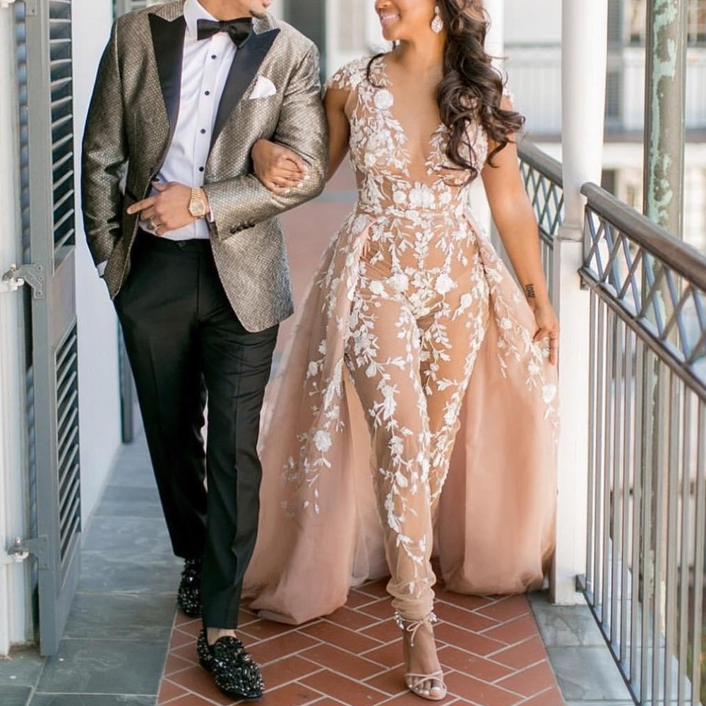 Sexy Long Lace Evening Dresses 2020 With Skirt Jumpsuit Dubai Arabic Evening Gown Party Pants Abiye Formal Dress Robe De Soiree