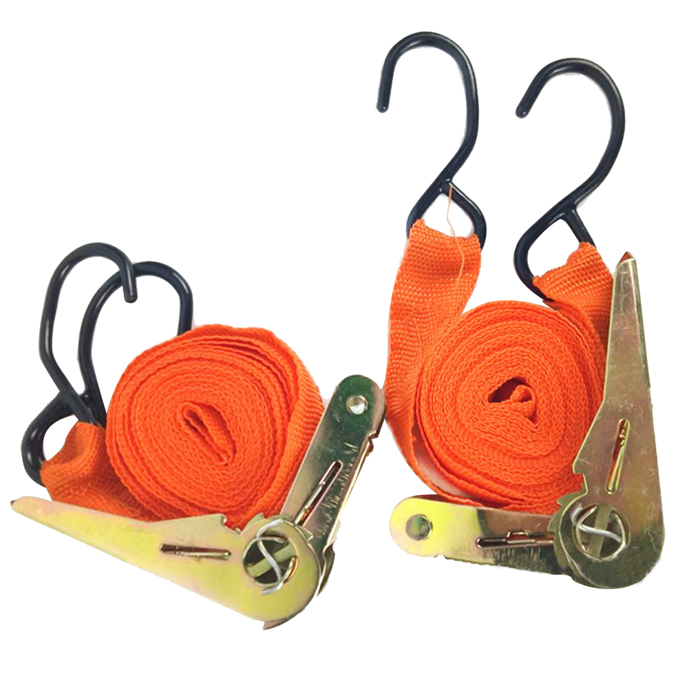 2pcs Equipment Truck Lashing Car Cargo Ratchet Strap Tie Down Belt Tension Rope Motorcycle Bike Transport Strong Luggage Tow Bag