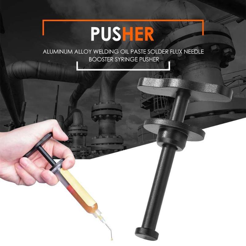 Durable Aluminum Alloy Needle Cylinder Type Push Rod Welding Oil Soldering Syringe Pusher Solder Flux Needle Booster