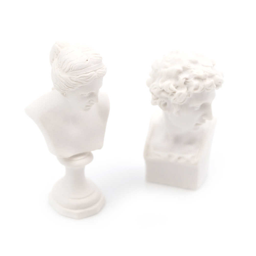 1/12 Rumah Boneka Miniatur Furniture Simulasi Putih Resin Venus David Dada Patung Berpura-pura Bermain Rumah Mainan untuk Anak-anak Anak