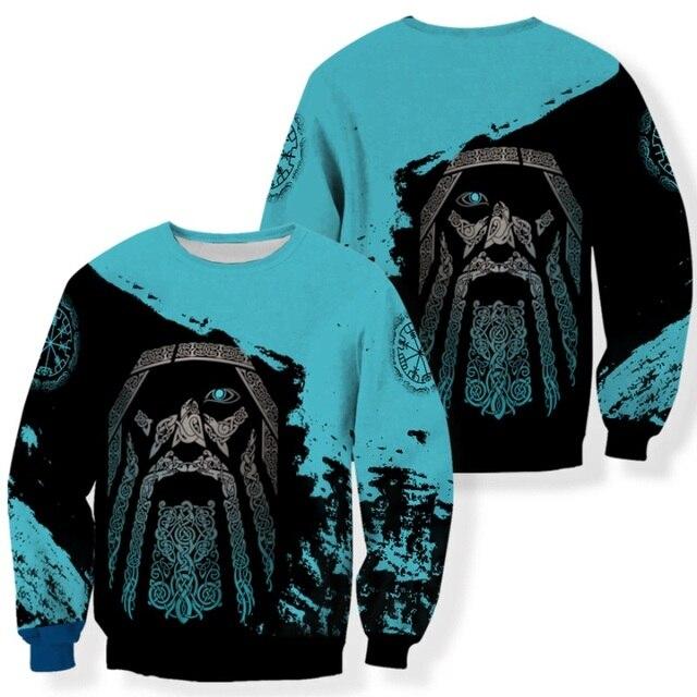 Viking Odin - Blue Pullover Tattoo 3D Hoodie 5