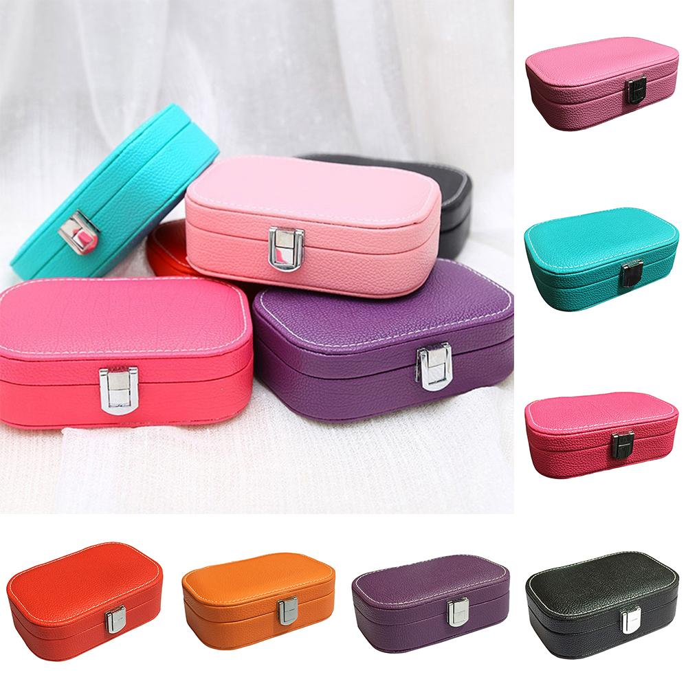 15X10X5cm Portable Jewelry Display Ring Earring Storage Organizer Travel Case With Mirror Necklace Storage Box Gift Elegant For