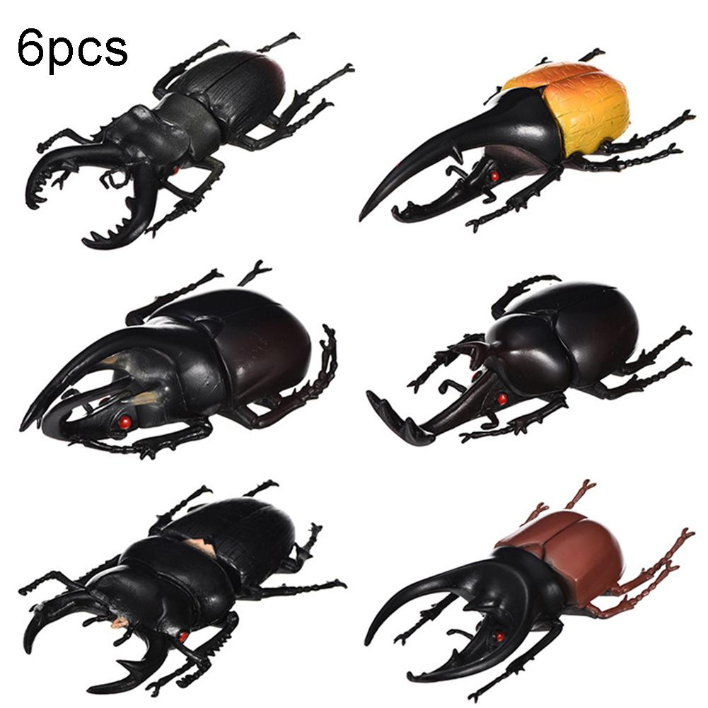 6Pcs Simulation Beetle Insect Model Kids Adult Toy Halloween Prank Trick Props Plastic Non-Toxic PVC Insect Toy Halloween Props