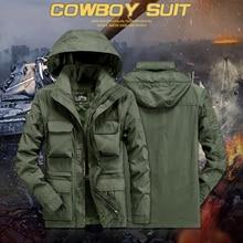 Водонепроницаемые куртки мужские в стиле милитари армейские ветровки Толстая теплая парка с меховым капюшоном зимнее пальто флисовые мужские куртки с несколькими карманами