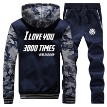 Avengers Iron man I love You 3000 Times Mens Tracksuit Winter Men Warm Set Thick Jackets+Pants 2 Pieces Sets Male Hoodies Suit(China)