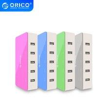 ORICO cargador USB de escritorio de 5 puertos, adaptador de cargador de viaje, carga rápida para teléfono inteligente, 4 colores, toma de corriente