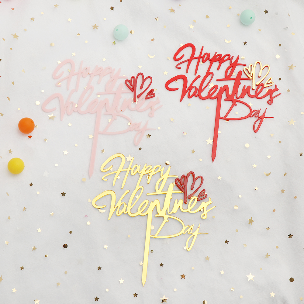 1pc feliz dia dos namorados amor coração bolo topper ouro acrílico cupcake topper para casamento valentine aniversário decoração do bolo artesanato