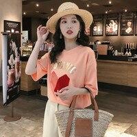 100% Cotton Short Sleeve T shirt Women Summer Velvet Heart Patchwork Shirt Womens Shirts Celebrity Loose T shirt White Black Top