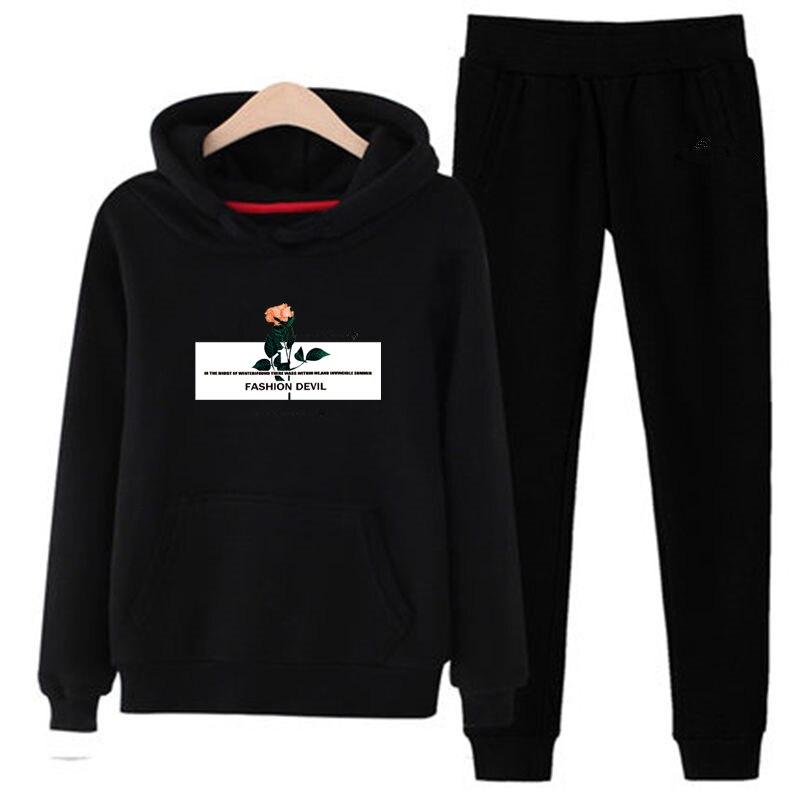 P80 New 2019 Tracksuit Fashion Women Sportswear Two Piece Sets Fleece Student Hoodie+pants Sporting