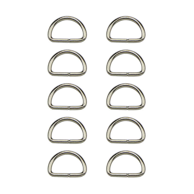 50Pcs/lot Matal D Ring Snap Hook Trigger Lobster Clasps Clips DIY Bag Parts Accessories D Jump Ring Wholesale