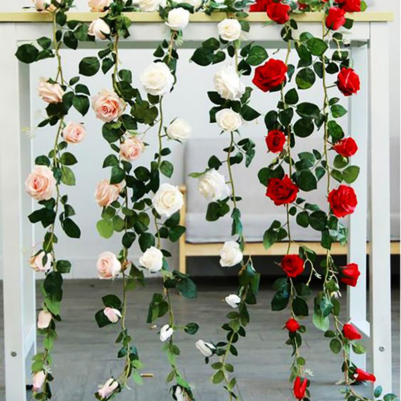Artificial Rose Flowers Vine Hanging Garland With Green Leaves Home Decoration