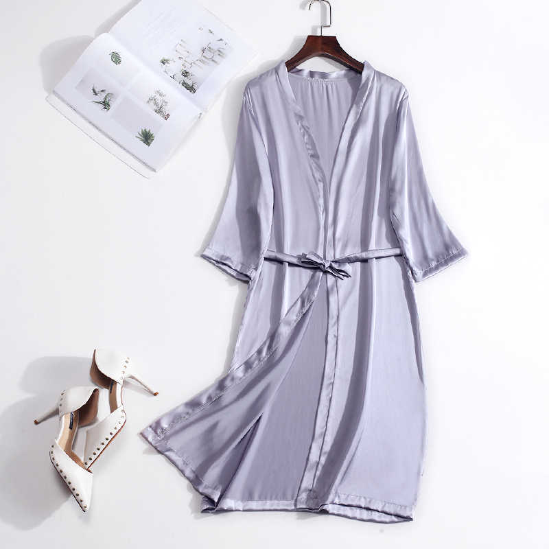 Zijde 100% Echte Pure Moerbei Vrouwen Gewaden Zijde Satijn Knielengte Robe Nachtkleding Nachtkleding Pijamas Bornoz Gewaad Nachtjapon Kimono
