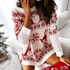 Christmas Snowflake Elk Print Party Dress Winter Autumn Long Sleeve Mini Dress Women Elegant Off Shoulder Knit Sweater Dress 4