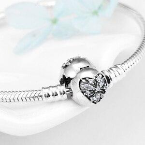 Image 2 - Aşk kalp kar tanesi moda kadın esnek bilezik gerçek 925 ayar gümüş kristal CZ yılan kemik zincir takı 2018
