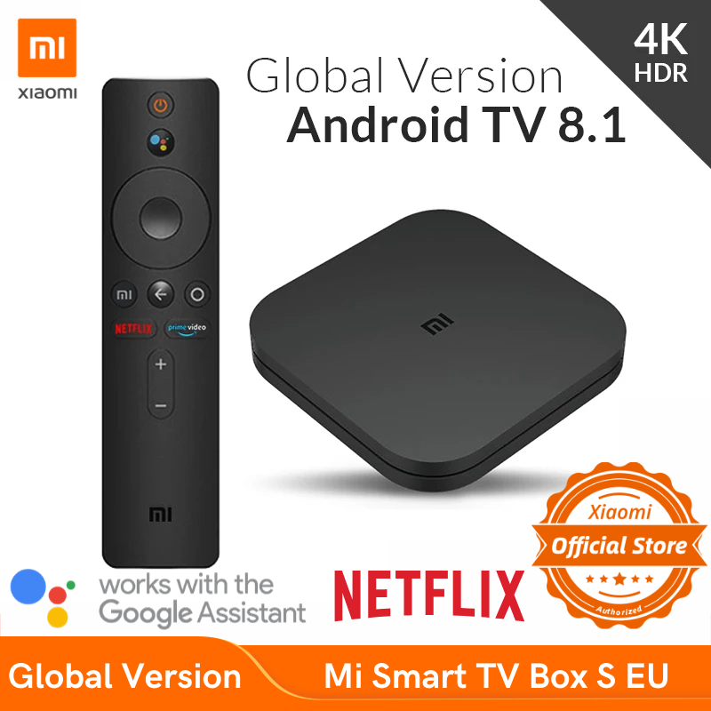 Versão global xiaomi mi caixa de tv inteligente s 4k hdr android streaming de tv media player e google assistente remoto smart tv mibox s