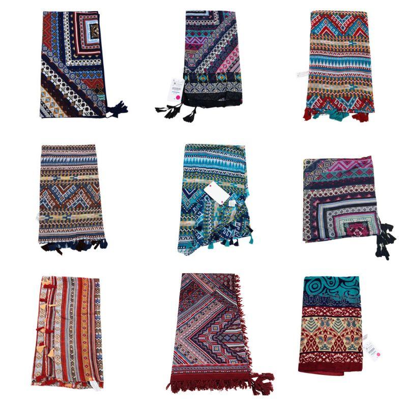 Womens Ethic Geometric Tassel Shawl Hijab Pashmina Elegant Bohemia Large Scarf