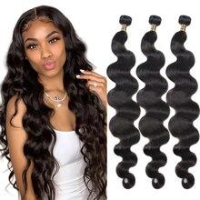 40 Inch Body Wave Bundles Human Hair Indian Natural Black Hair Weave Human Hair Bundles Deals for Black Women Hair Extensions
