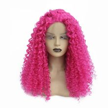 цена на Pink Kinky Curly Lace Front Wigs Heat Resistant Fiber Hair Glueless Synthetic Wigs with Baby Hair Curly Wigs For Black Women