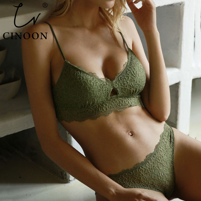 CINOON New Women's underwear Set Sexy Push-up Bra And Panty Sets Hollow Brassiere Gather Sexy Bra Embroidery Lace Lingerie Set 1
