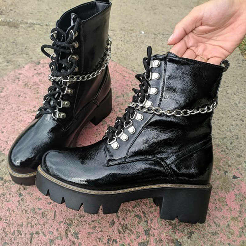 FITWEE ผู้หญิงข้อเท้ารองเท้า Rivets สิทธิบัตรหนัง Punk รองเท้าผู้หญิงอบอุ่นทุกวันฤดูใบไม้ผลิผู้หญิงฤดูหนาว Botas รองเท้าขนาด 34 -43