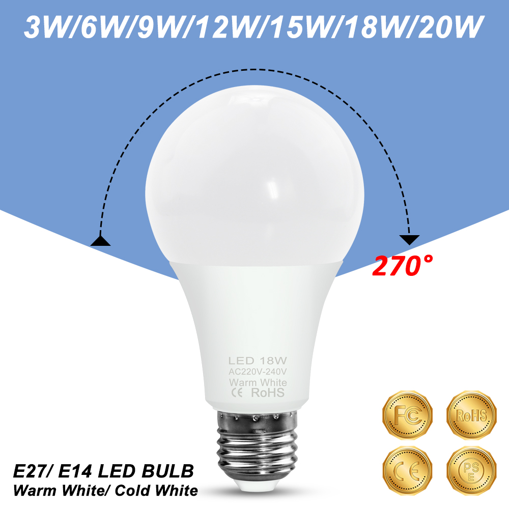 LED Bulb E14 Bombillas E27 Spot Light 220V Ampoule Led 3W 6W 9W 12W 15W 18W 20W Spotlight Table Lamp Home Lighting 240V 2835 SMD