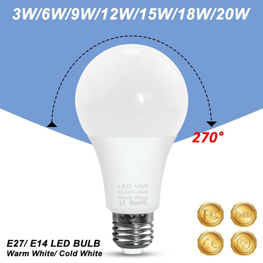 LED Bulb E14 Bombillas E27 Spot Light 220V Ampoule Led 3W 6W 9W 12W 15W 18W 20W Spotlight Table Lamp Home Lighting 240V 2835 SMD