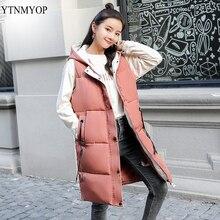 YTNMYOP безрукавка женская жилетка женская женский зимний жилет Повседневное с капюшоном длинный жилет из искусственного меха M-3XL жилет Парка хлопковая стеганая куртка без рукавов теплое пальто