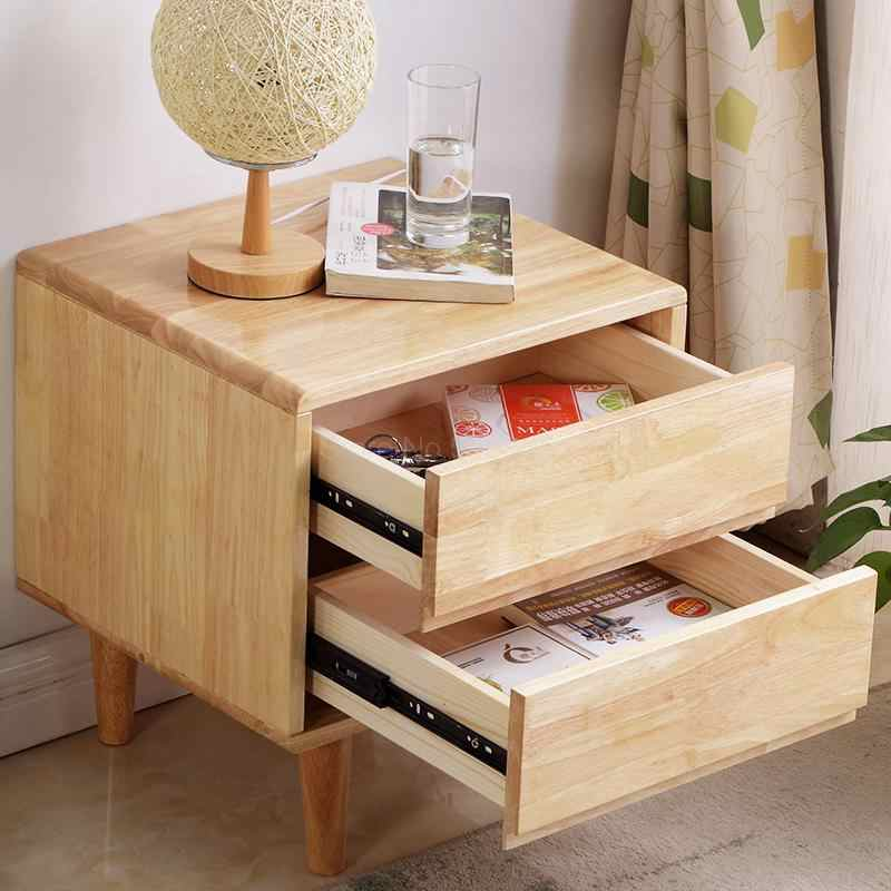 Solid wood Nordic bedside table mini bed side small cabinet ...