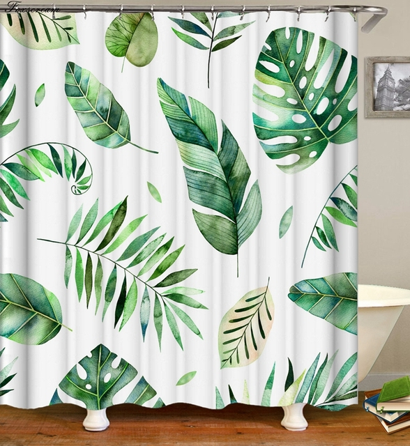 Tropical Shower Curtains 3d Green Shower Curtain Bath Fabric