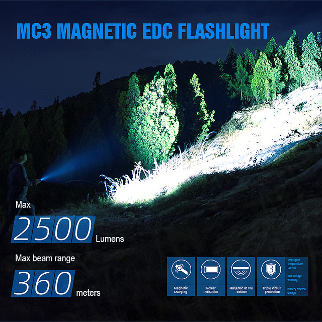 TrustFire MC3 EDC LED Flashlight 2500 Lumens Magnetic USB Rechargeable CREE XHP50 Torch Lamp Come With 21700 2500mah Battery 4