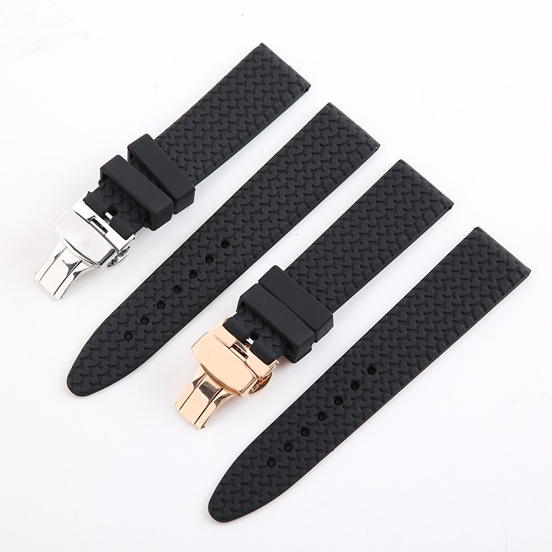 New High Quality Rubber Strap 21mm 23mm Black Diving Silicone Watchbands For Chopard